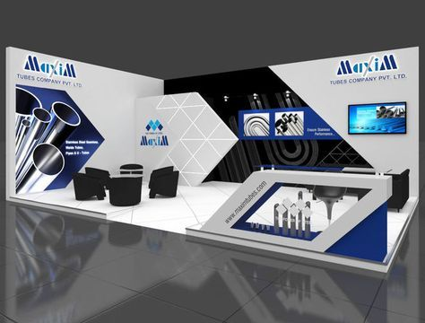 Exhibition Stand 3d Model : Exhibition stall 3d model 9x6 mtr 2 sides open maxim tubes stand