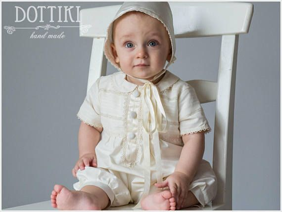 Baby Boy Baptism Outfit Boys Romper Christening Silk Romper