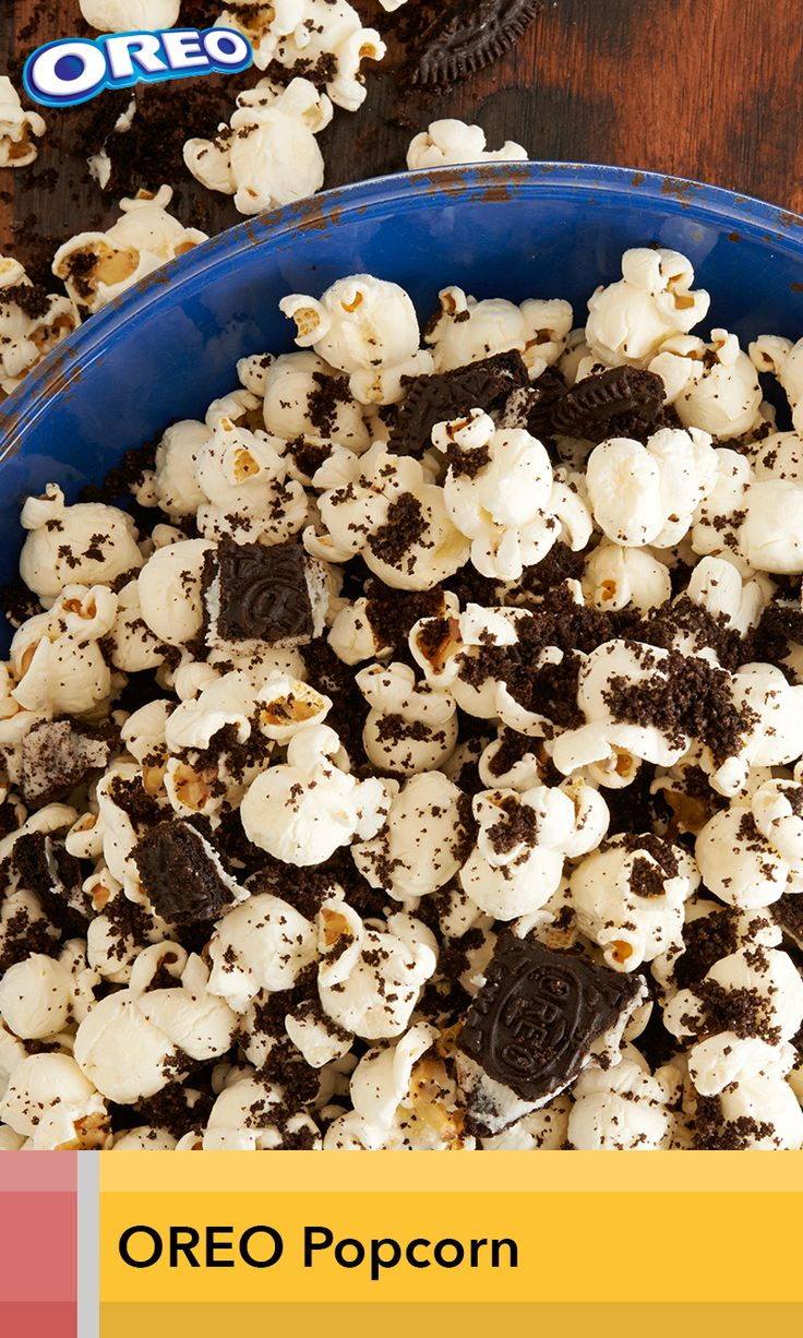 Munchable popcorn gets a sweet new taste lift with the addition of OREO cookies. And, it all comes together in just 5 minutes.