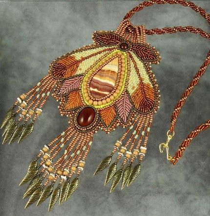 Bead embroidered necklace by Sue Horine