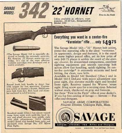Savage's Model 342 .22 Hornet Rifle (1951)Loading that magazine is a pain! Get your Magazine speedloader today! http://www.amazon.com/shops/raeind