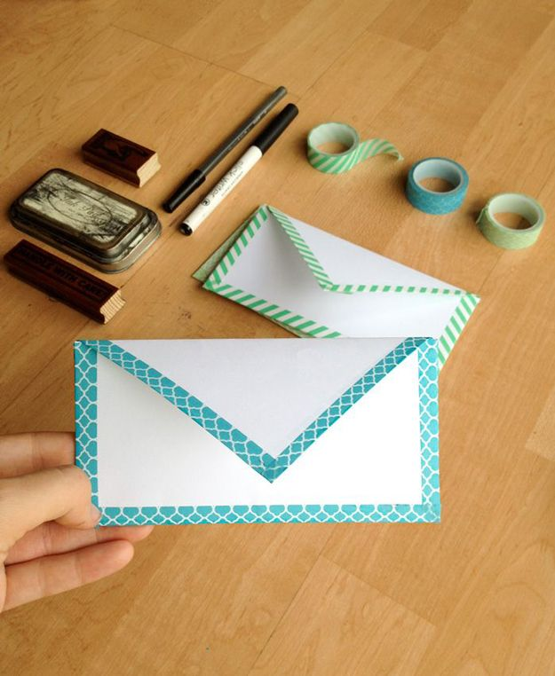 Cheap and Easy DIY Crafts with Washi Tape | DIY Envelope with Washi Tape by DIY Ready (some good ideas, but continuously slow to load)