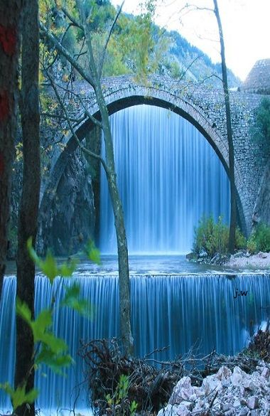 Bridge of Palaiokaria Waterfall in Kalambaka, Greece