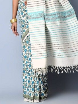 Off White-Blue-Olive Cotton Khesh Hand-Block Printed Saree