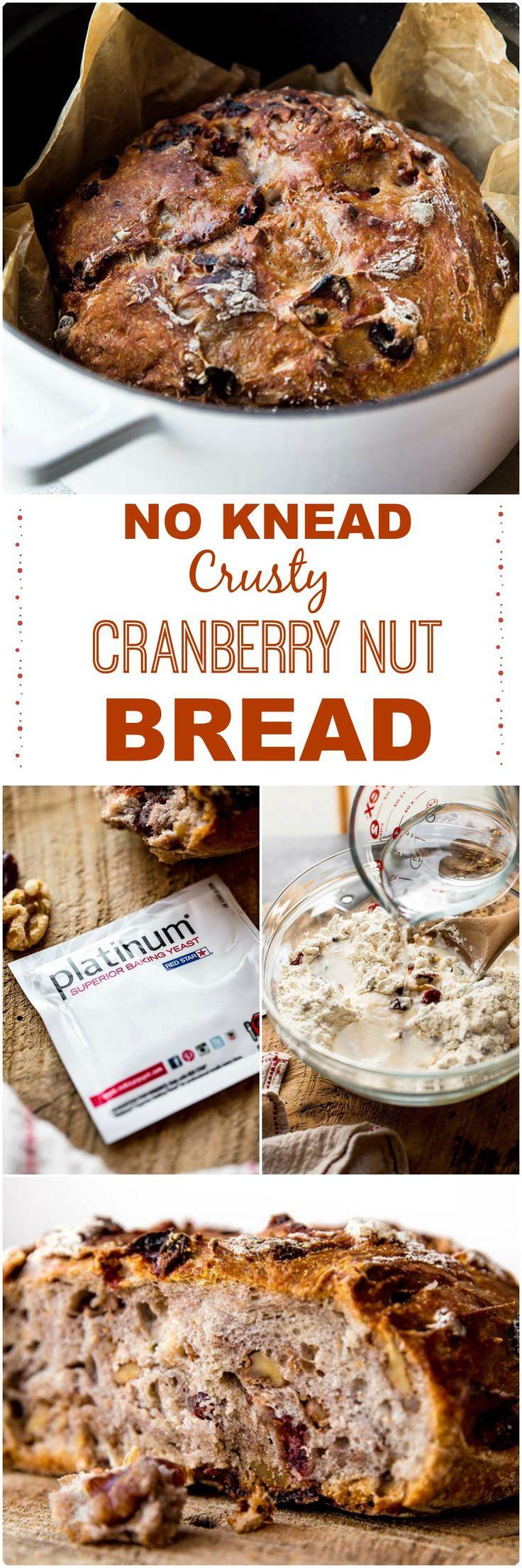 No Knead Crusty Cranberry Nut Bread