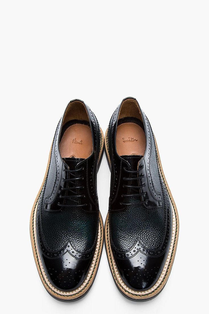 PAUL SMITH Black and green pebbled leather brogues - loving that pebble-embossed leather!