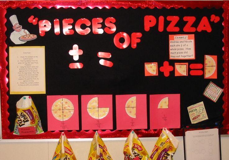 "Using pieces of cardboard pizza slices is a great way to visually teach students fractions.  This teacher has created a ""Pieces of Pizza"" math bulletin board display in her classroom. Can use other food or holiday themed - conversation hearts, etc..."