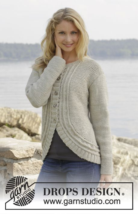 """Knitted DROPS jacket with False English rib and short rows in """"Nepal"""". Size S-XXXL ~ DROPS Design"""