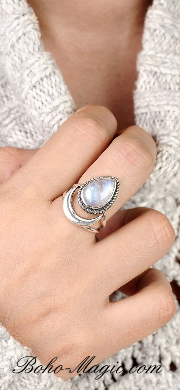 Sterling Silver ring Wanderlust Jewelry Sterling silver Moonstone Ring Birthstone ring Celestial Ring Solitaire Ring
