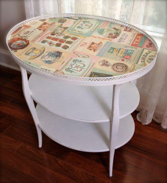 Shabby Chic Side Table Tea Table By MonetsAttic On Etsy, $155.00