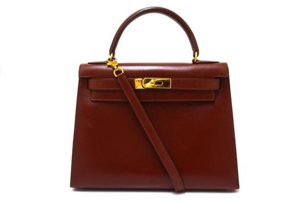 1円~エルメス ケリー28 ボックスカーフ 2WAY バッグ 茶 34500の1番目の画像