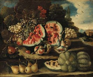 Melons, pears, grapes and apples on a bank  CIRCLE OF FELICE BOSELLI (1650-1732)