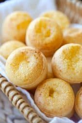 Yummy Brazilian cheese bread (Pão de Queijo) recipe. Easy 20 mins recipe, they're SO GOOD and you can't stop eating them.   rasamalaysia.com