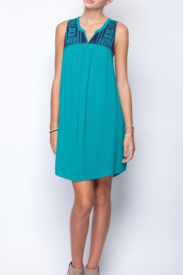 This easy to wear dress has navy embroidering at the neckline, an exposed zipper, and a bra friendly cutout on the back. Pair with neutral sandals, wedges, or even booties. Fit is true to size.   Openback Tidepool Dress by Gentle Fawn. Clothing - Dresses - Night Out Clothing - Dresses - Formal Clothing - Dresses - Casual Cincinnati, Ohio