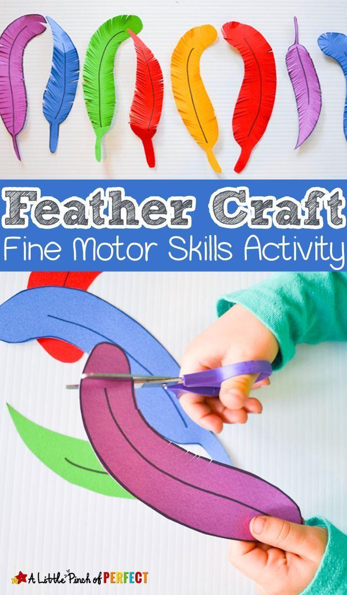 Paper Feather Craft: A fine motor skills and scissor practice activity for kids (preschool, kindergarten, Thanksgiving, birds, fall)