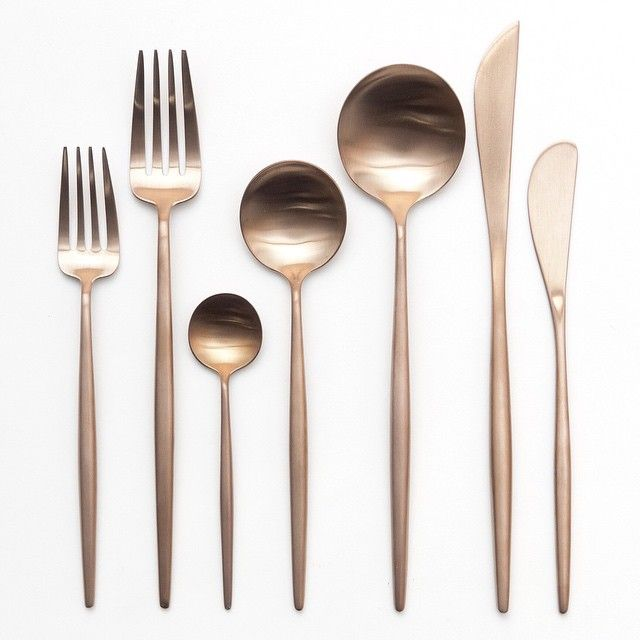 Added a demitasses spoon to our Rose Gold flatware! Available for rent at Casa de Perrin.