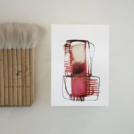 Arte di pietra astratta arte-inchiostro rosso disegno, disegno rosso, rosa, minimal, arte moderna, forme geometriche, strutturali, dipinto da Cristina Ripper astratto