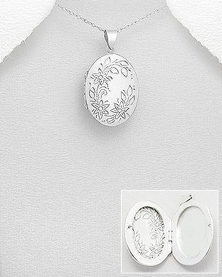 Medalion oval care se deschide din argint gravat 17-1-i4990 | SilverZone.ro