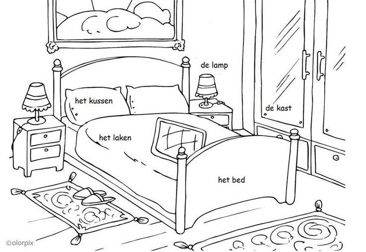 Kleurplaat de slaapkamer.  Inclusief zelfstandig naamwoord + lidwoord.