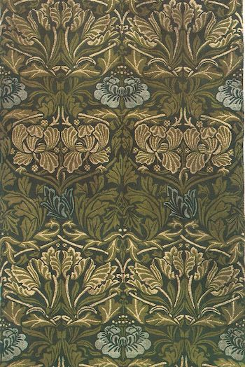 Small Green Leaves And Blue Flower Rug By William Morris
