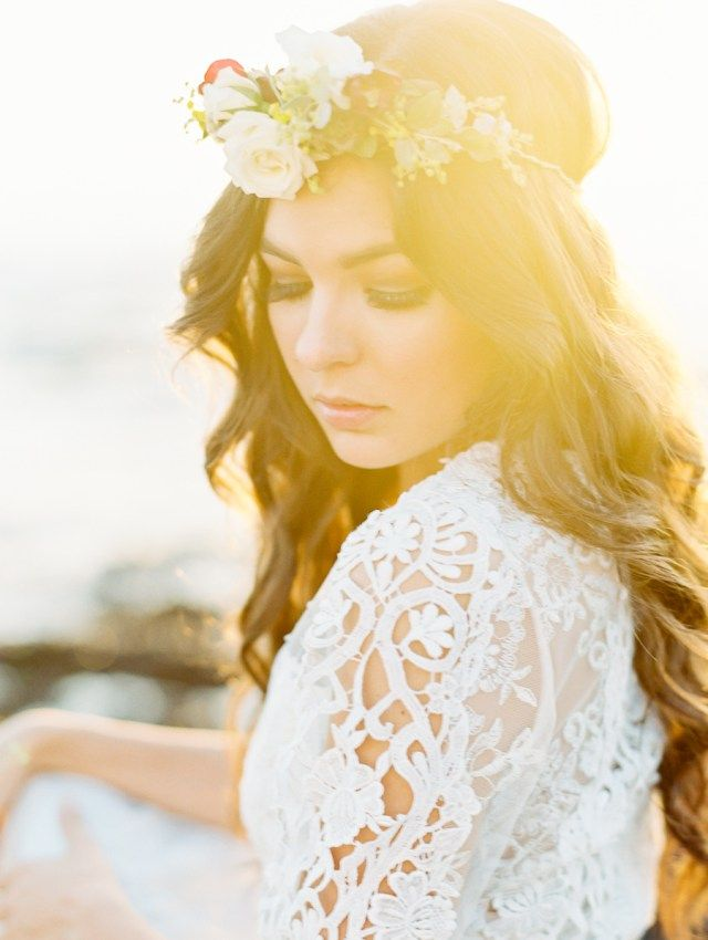 Golden Hour Seaside Romance Hair Style With A Fl Crown