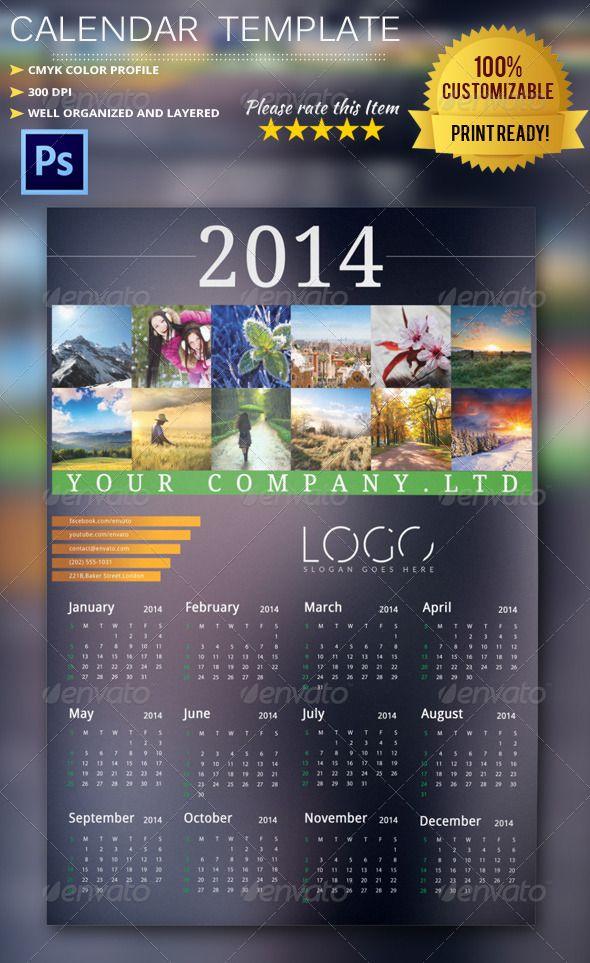 2014 Calendar Template  #GraphicRiver        2014 Celendar 2014 Professional and clean Calendar template.