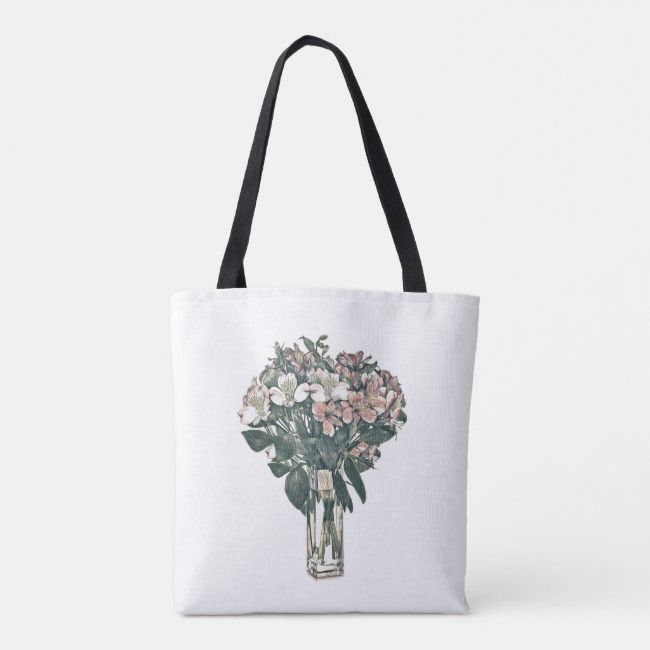 Tote Bag Designed With A Vase Of Flowers Zazzle Com Tote Bag