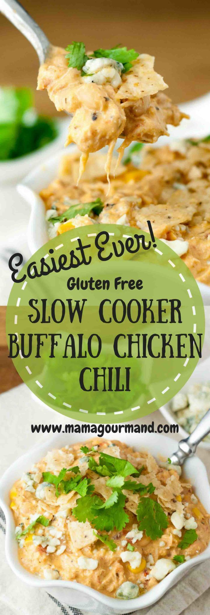 Look no further for your slow cooker creamy Buffalo Chicken Chili recipe. This one is it, hands down, and everyone will want the recipe. Absolutely perfect and delicious! www.mamagourmand.com