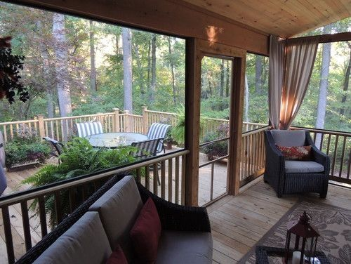Screened in porch, deck traditional porch by Jo HiLL