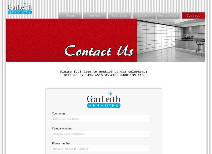 We've made it easier than ever to contact the team at Gaileith Services. Our new online 'Contact Us' form is now available!    And don't forget, we're not just on Pinterest - you can also find us  on Twitter, Google+ and Facebook!