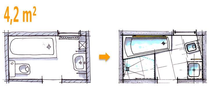 Badplanung Beispiel 4,2 qm Komplettbad auf kleinstem Raum
