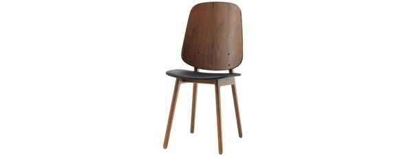 Marstal chair, as shown, black leather look/walnut veneer. H89/48xW44xD53cm. [Marstal - 1850]  Article no.: 402018504901059  $395  Modern Dining Chairs, Dining Chair Sydney, Designer Dining Chairs - BoConcept Furniture Sydney Crows Nest Moore Park in Australia