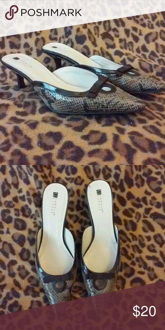 Der entzückende Carole Little Bareback Kitten Heels Carole Little Snakeskin nackten Rüc …   – My Posh Closet