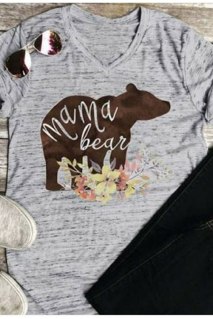 168aa2427 Women's Mama Bear Floral V-neck t-shirt; gift for new mama or mother's day  #ad #mamabear