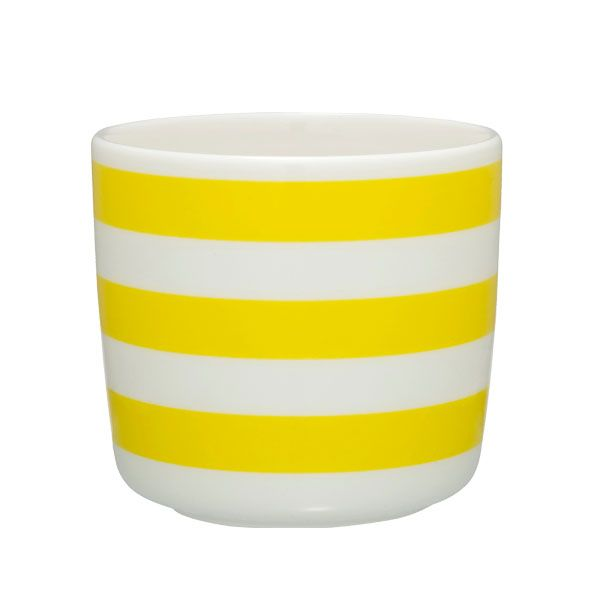 Tasaraita coffee cup without handle, yellow-white