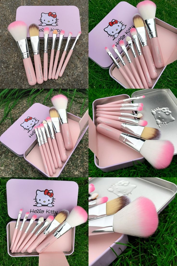 [Visit to Buy] 7PCS Newest Pink Hello Kitty Makeup Brush Set Mini Size Professional Cosmetics Make Up Brushes Set For MAC With Metal Box VH012 #Advertisement