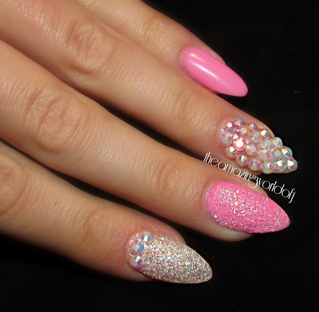 Pink with Rhinestones nail design ~ cute! - 107 Best Rhinestone Nails Images On Pinterest Coffin Nails