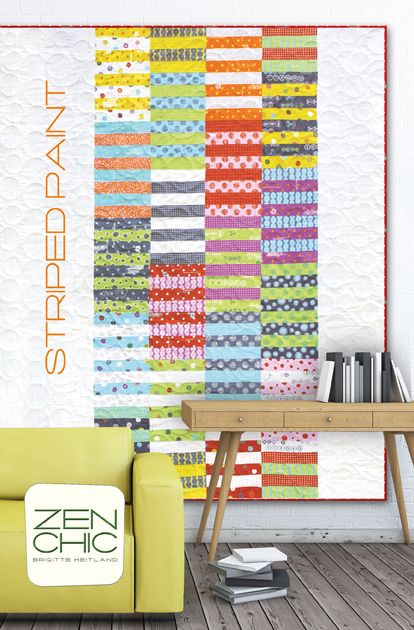 This is a young, fun, easy and quick modern quilt: STRIPED PAINT by ZEN CHIC using her new line Hey Dot for Moda. You just need a Jelly Roll and 4 hours ! Get your PDF-Download