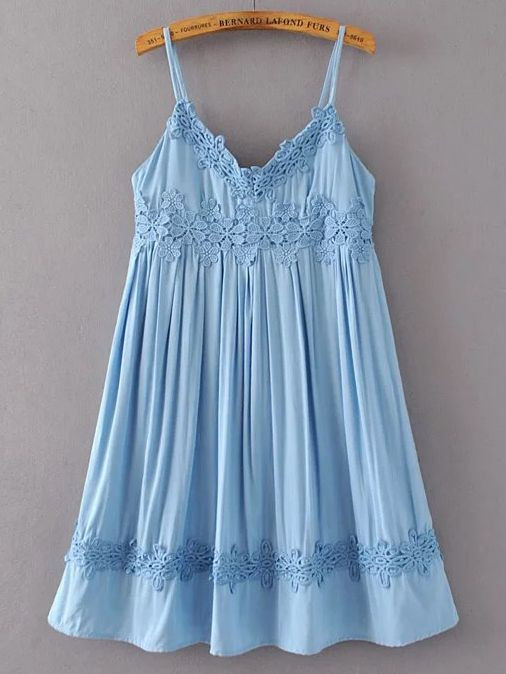 Shop Blue Crochet Applique Cami Babydoll Dress online. SheIn offers Blue Crochet Applique Cami Babydoll Dress & more to fit your fashionable needs.
