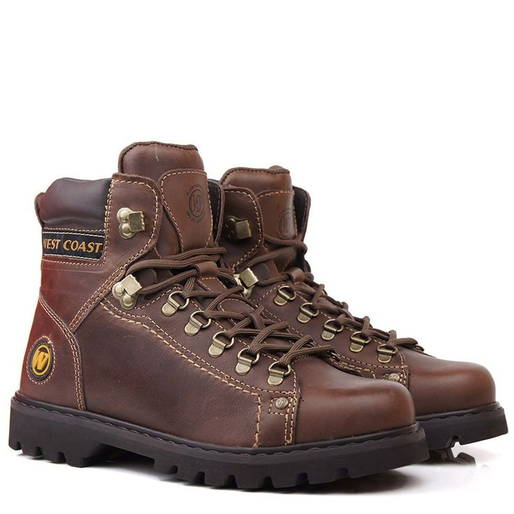 Bota Masculina West Coast Worker Marrom - Frete Grátis na Black Boots - BlackBoots