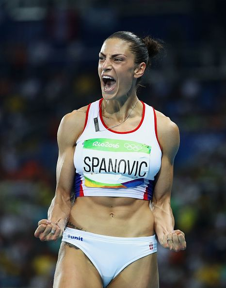 Ivana Spanovic of Serbia reacts during the Women's Long Jump Final on Day 12 of…