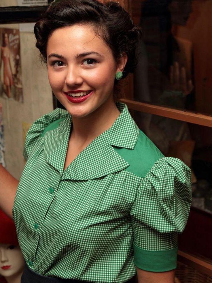 Emerald Gingham Olivia Blouse - 1930s Blouse - Vintage Style Blouse
