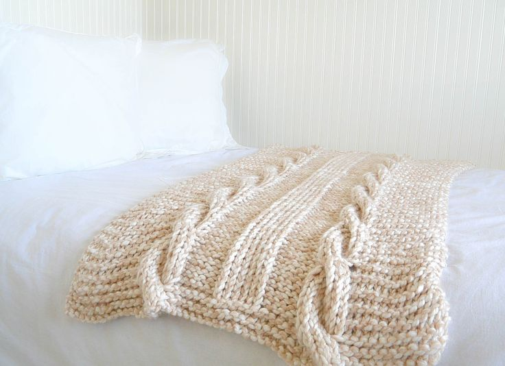 "Putting my ""quick and easy"" mantra aside, check out this chunky cable knit blanket that I just finished!  Okay, in reality, it actually is very quick and easy for a blanket.  Have you seen some of the beautiful chunky cable knit blankets out in stores and online? I can't believe how expensive some of them are. My hubby might have fallen over if...Read More »"