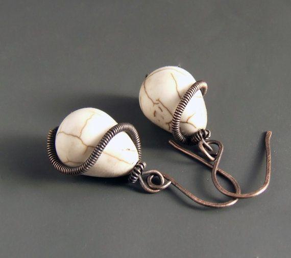 Ivory white earrings copper earrings howlite by VeraNasfaJewelry