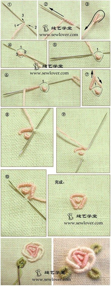 【卷针玫瑰绣刺绣方法】卷针绣(也称绕针绣或…_来自团团糖的图片分享