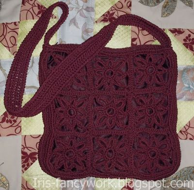 My Fancywork Blog: Бордовая сумка связаная крючком из мотивов-цветы.