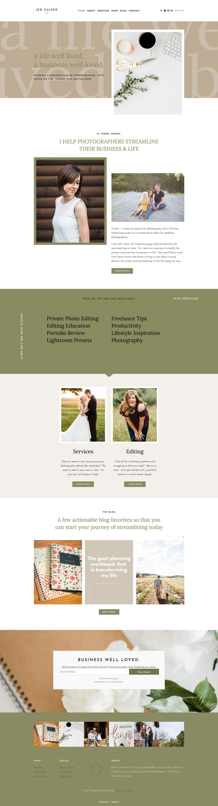 I'm absolutely in love with Jen Kaiser's brand new web design using Station Seven's Eiderwild Squarespace Kit! Perfect for wedding photographers or business coaches.
