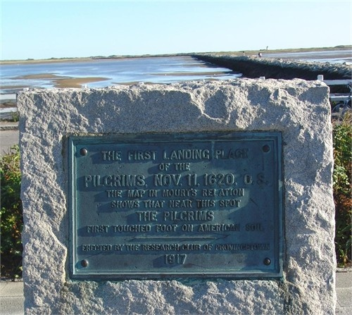The first landing place, or near this, of the the Pilgrims, Nov 11, 1620, Plymouth, Massachusetts.