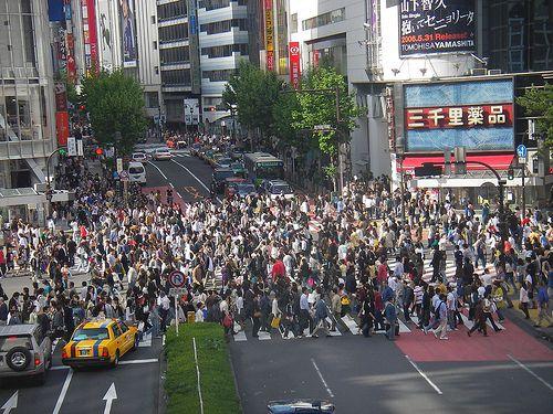 crossing near shinjuku station, tokyo