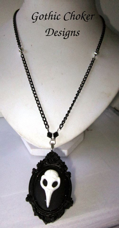 Gothic crow skull cameo necklace.  R120